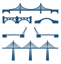 set bridges movable cabble way metal and stone vector image