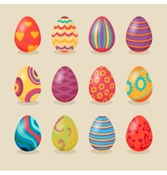 set easter eggs design flat vector image
