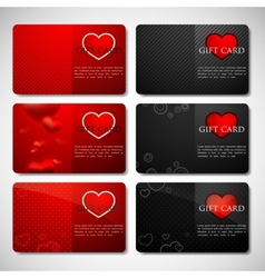 Set of gift cards with hearts vector