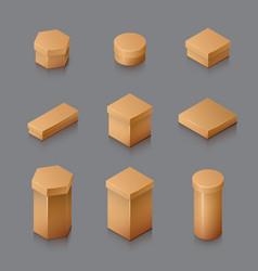 Set of isometric carton packaging box 3d vector