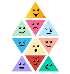 set smiley pyramid icon creative cartoon style vector image