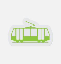 Simple green icon - tram streetcar vector