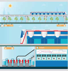 sky train station with ticket vending machines vector image