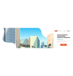 skyscraper buildings view modern cityscape vector image