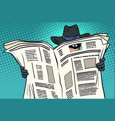 Spy watches through newspaper vector