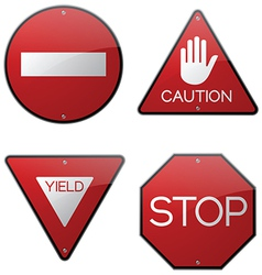 Stop Caution Yield Do Not Enter Signs vector image