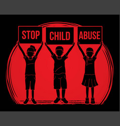 Stop child abuse children with sign board vector