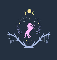 unicorn in night with starry sky and moon vector image