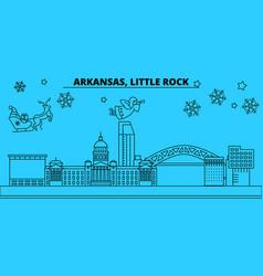 united states little rock winter holidays skyline vector image