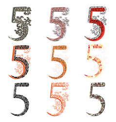 Various combination numeric figures 5 vector