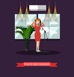Voice recording in radio flat vector