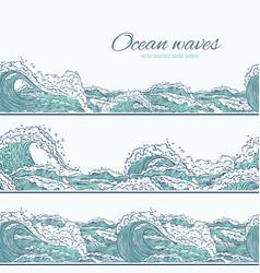 Waves sea ocean seamless pattern border vector