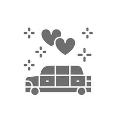 Wedding car limousine service grey icon isolated vector