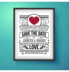 Wedding Invitation Concept Design on Frame vector image