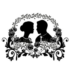 wedding silhouette with flourishes 9 vector image