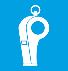 Whistle of refere icon white vector