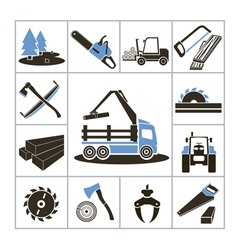 Woodworking industry icons vector