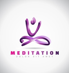 Yoga mediatation pose logo vector