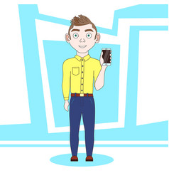 young man showing cell smart phone standing over vector image