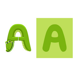 a is for alligator letter a alligator animal vector image