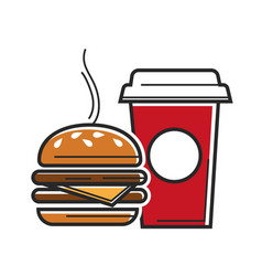 american fast food symbols for usa america travel vector image