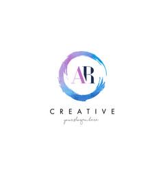 ar letter logo circular purple splash brush vector image vector image
