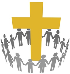 Family Circle Christian Community Cross vector image