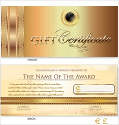 Gold Gift certificate template vector image vector image
