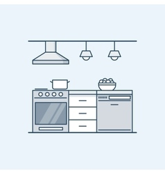 Modern kitchen interior with gas stove and vector image