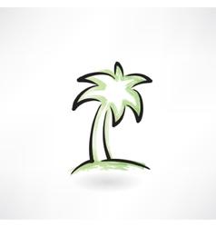Palm tree grunge icon vector