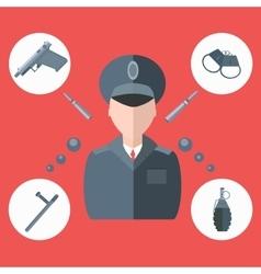 Police baton gun handcuffs grenade vector image