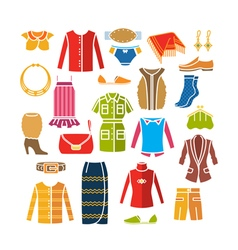 Set with color womens clothes and accessories vector image vector image