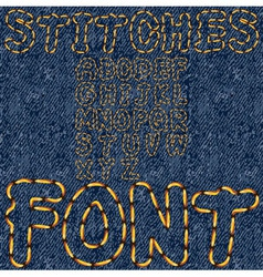 stitches font denim vector image vector image