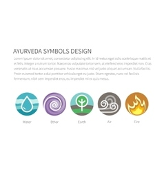 Ayurvedic elements water fire air earth and vector