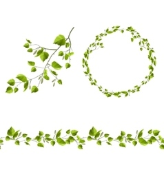 Branch of tree with green leaves Endless patttern vector image