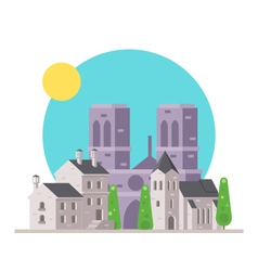 Flat design of Notre Dame France with village vector image