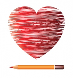 heart and pencil image vector image vector image