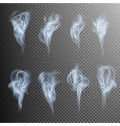 Isolated realistic cigarette smoke waves EPS 10 vector image