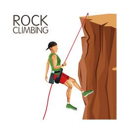 scene man mountain descent rock climbing vector image vector image
