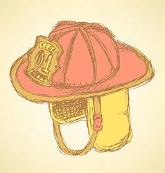 Sketch fire helmet in vintage style vector image