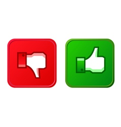 Thumb up and thumb down button vector