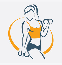 active woman doing fitness symbol sport concept vector image vector image