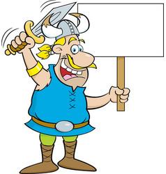 cartoon viking waving a sword and holding a sign vector image vector image