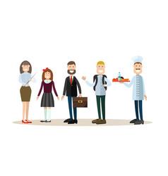 school people in flat style vector image vector image