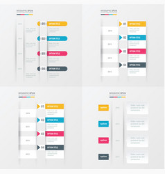 Timeline design 4 item yellow blue pink color vector