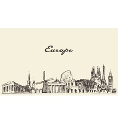 Europe skyline drawn sketch vector image