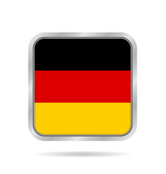 flag of Germany shiny metallic gray square button vector image
