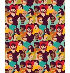Man only crowd big group color seamless pattern vector image vector image