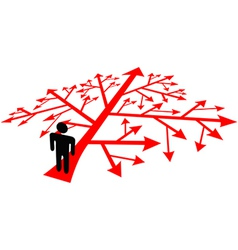 Person go on complicated decision path vector image vector image