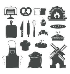Set of bread products bakery symbols coffee shop vector image vector image